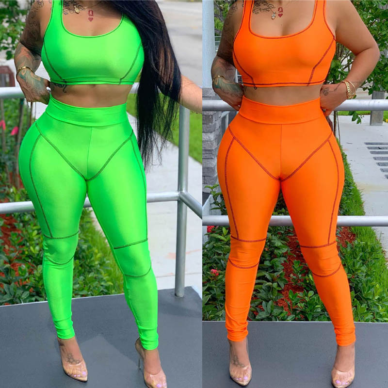 Summer Neon Green Orange Two Piece Set Women Sleeveless Vest Crop Top Legging Pencil Pants Suit Sportwear Matching Set Outfits