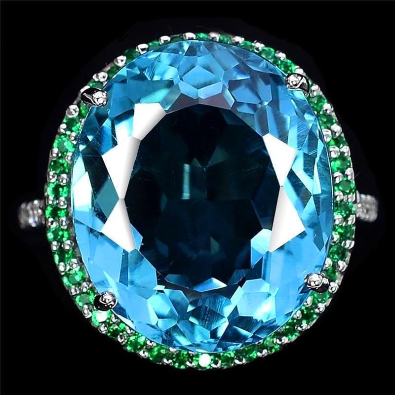 JUNXIN, piedra de zirconia azul transparente, anillos grandes para mujeres, Color plata, gran huevo, cristal verde, anillo de boda femenino CZ, joyería Bohemia