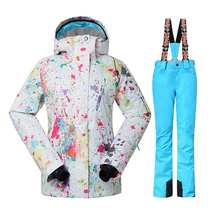 GSOU SNOW chaqueta de esquí de invierno + Pantalones para mujer trajes de snowboard superimpermeable transpirable traje de esquí femenino enviar DHL3-10