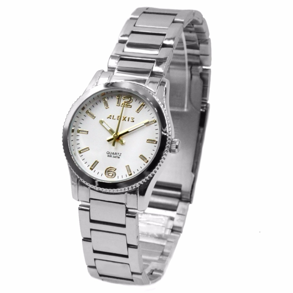 Alexis Unisex 2035 Quartz Round Watch Japan Miyota Movement Shiny Silver Stainless Steel Band Gold Dial Water Resistant enlarge