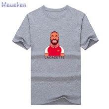2018 nueva gunner 9 Alexandre Lacazette camiseta de dibujos animados 100% Camiseta de algodón Hombre casual para los fans regalo 0926-1
