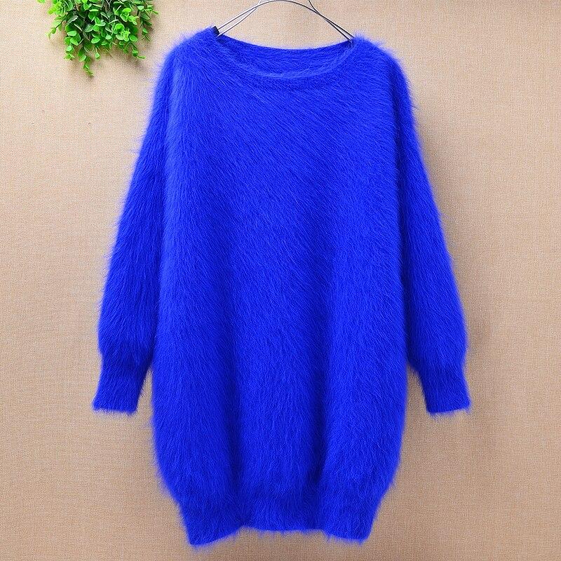 Señoras mujeres medio largo azul visón cachemir cuello redondo suelto mullido conejo de angora piel suelta hecho a mano Jersey suéter vestido