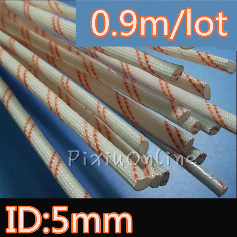 5MM diámetro 0,9 metros/lote YL445b manga tubo de fibra de vidrio de casquillo de alambre de Cable mejor resistente a alta temperatura