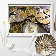 Affiches dart pièces commémoratives Bitcoin   Affiche toile peinture artistique murale, décoration de maison sans cadre, livraison directe