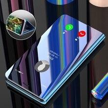 Luxe Smart View Clear Spiegel Lederen Case Voor Samsung Galaxy S9 S8 S10 Plus S7 Rand S9Plus S10e Flip Stand cover Originele Case