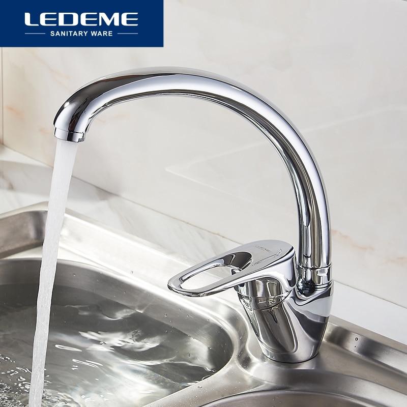 LEDEME Best Quality Chrome Finish Brass Water Power Kitchen Faucet Swivel Spout Vessel Sink Tap Single Handle One Hole L5904