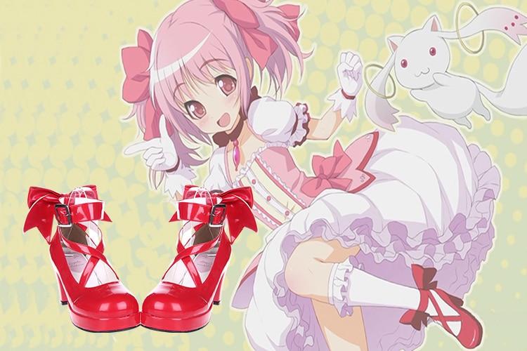 Puella Magi Madoka Magica Kaname Madoka Cosplay Sapatos Japonês Lolita Doce Sapatos Princesa Bonito Arco sapatos de Salto Alto