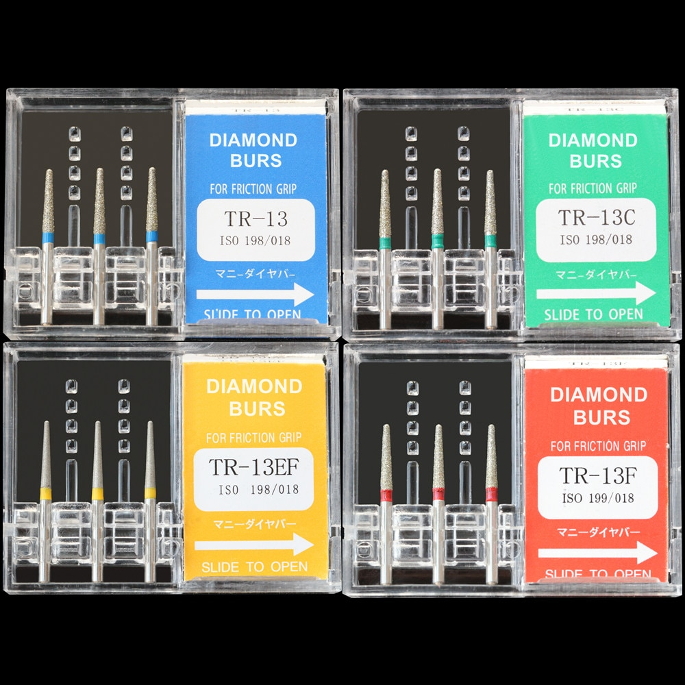 30Pcs(10Boxes) Dental Diamond Burs TR-13 / TR-13C / TR-13F / TR-13EF Polisher Drill FG1.6mm High Speed Handpiece Polishing Burrs