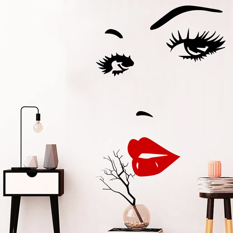 Pegatinas de vinilo Sexy salón de belleza cara labios calcomanías de pared para niñas decoración artística de dormitorio pegatinas de pared salón mural decoración de habitación