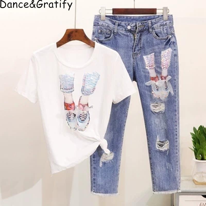 Mulheres verão Nova Moda Lantejoulas Sapatos Curto Camisetas de Algodão T + Conjunto Estudantes do Tornozelo-comprimento das calças de Brim Calças Jeans Buracos conjunto
