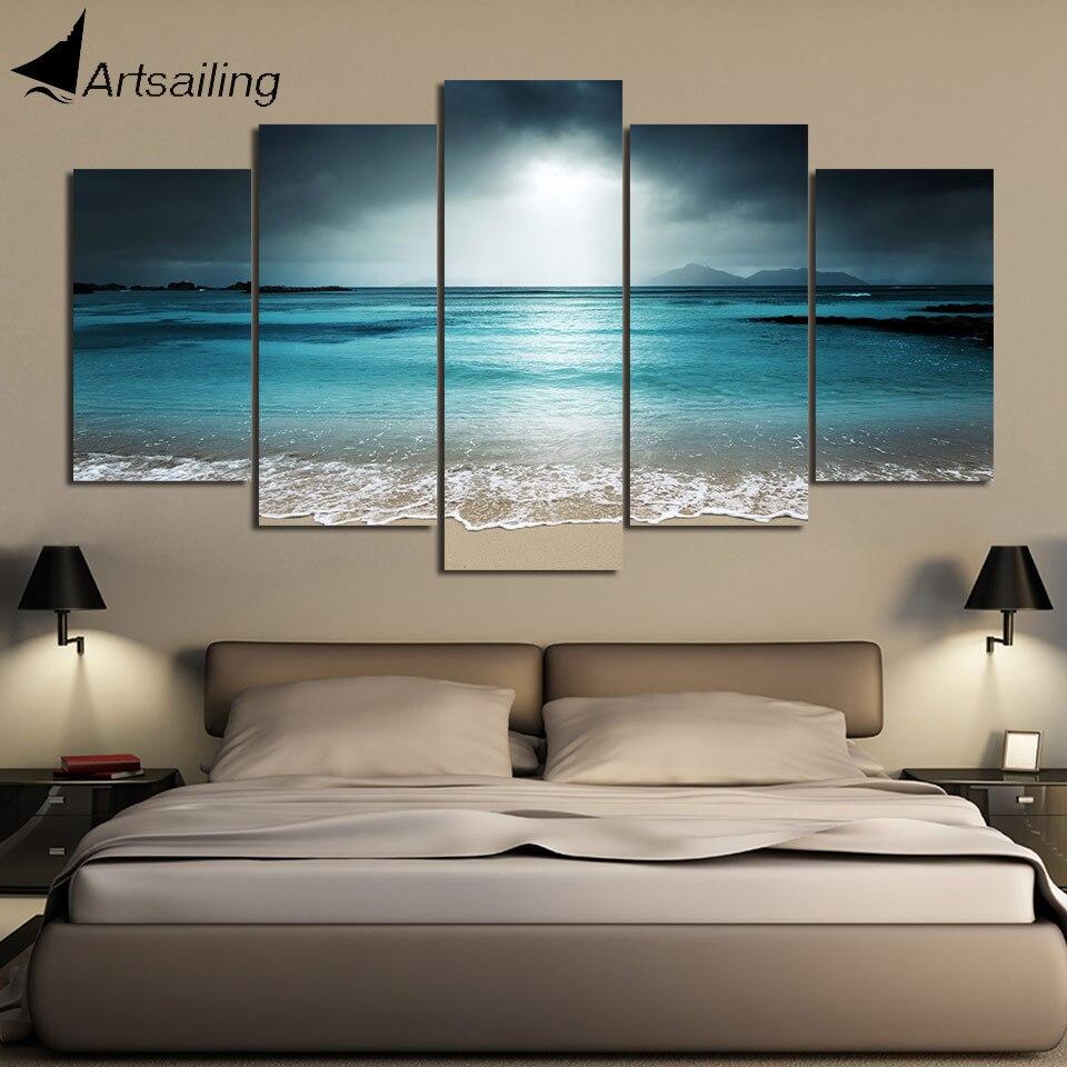 Модульная картина с HD принтом для пляжа, морской живописи, Холщовый Декор для комнаты, постер с принтом, Картина на холсте, парусина для артп...