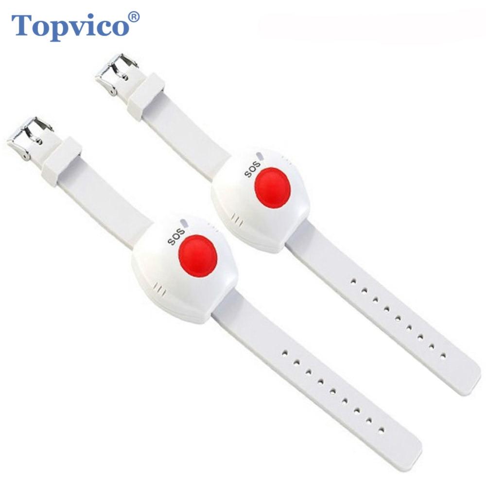 Topvico 2 шт. кнопка паники RF 433 МГц SOS кнопка аварийной сигнализации для пожилых людей браслет для пожилых людей GSM домашняя система охранной сигнализации
