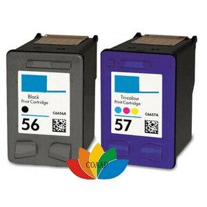 1 Set Compatible HP 56 Black + HP 57 Colour Refilled Ink Cartridges for Deskjet 5145, 5150, 5151, 5550, 9650, 9670, 9680