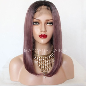 Maycaur Natural Straight Synthetic Lace Front Wigs for Women Black Purple Ombre Color Short Bob Hair Lace Wig