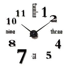 Simple Diy Wall Clock Black Antique Modern Design 3d Art Big Clock Wall Stickers Office Decor Reloj De Pared Decorativo 50w021