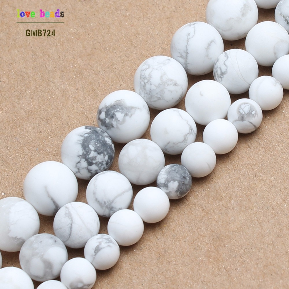 Cuentas de piedra Natural mate turquesas blancas cuentas redondas howlite para la fabricación de joyas pulsera de cuentas de 4/6/8/10mm