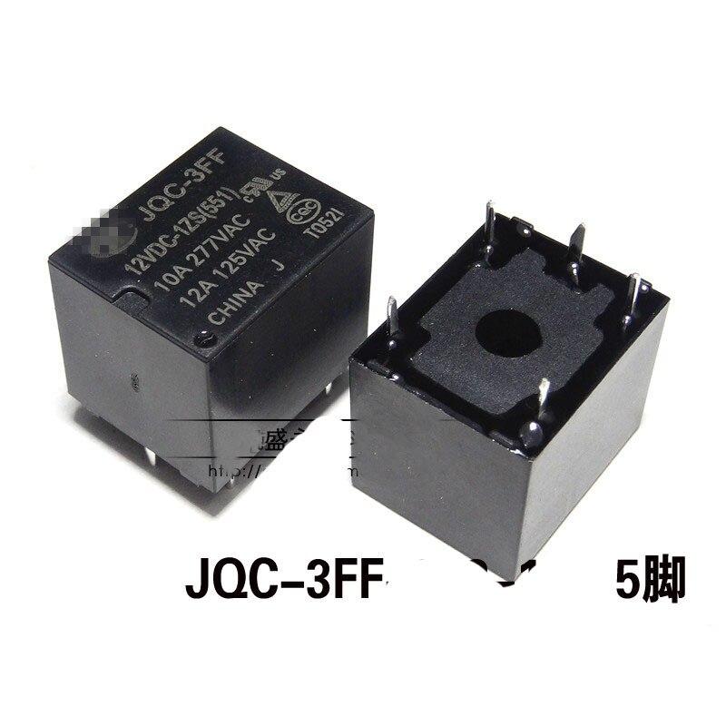 2PCS JQC-3FF(T73) 5 Pins 10A 277VAC 12A 125VAC Contact Power Relay DC 12V Coil