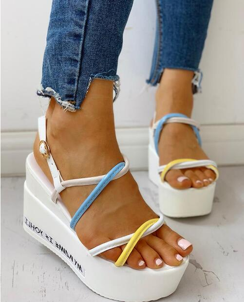 Size 35-39 Spring Casual Wedge Women Shoes Narrow Band Mixed color Sandals Platforms Rome Style Ladies Shoe