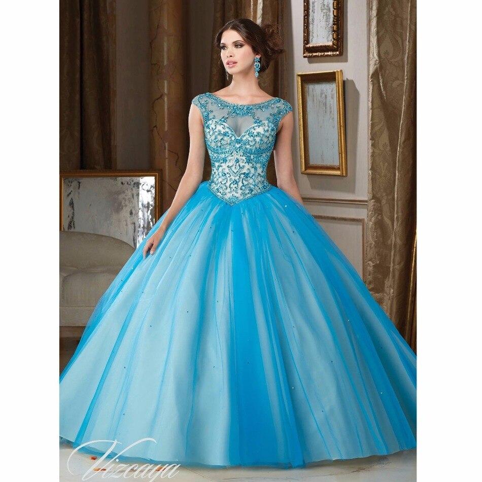 فستان الحفلات المثير 2018 من Quinceanera, يأتي باللون الأزرق السماوي ذو فتحة رقبة واسعة ، و 16 فستان لحفلات التخرج و 15 anos