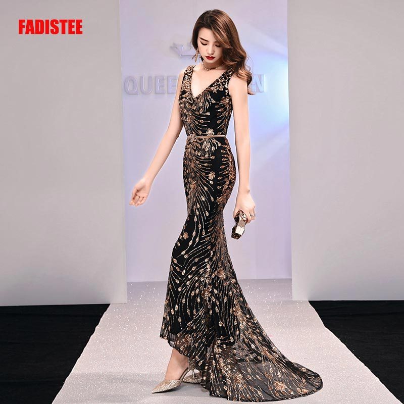 Fadistee nova chegada elegante vestido longo do baile de formatura vestidos de festa formal vestido de lantejoulas padrão simples sereia vestido de noite