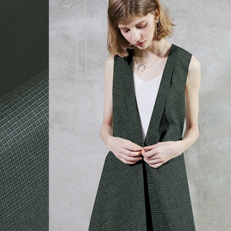 Verde oscuro compruebe lana fina lana ultrafina tela de lana fina tela para ropa de moda chaqueta Falda corta tela al por mayor