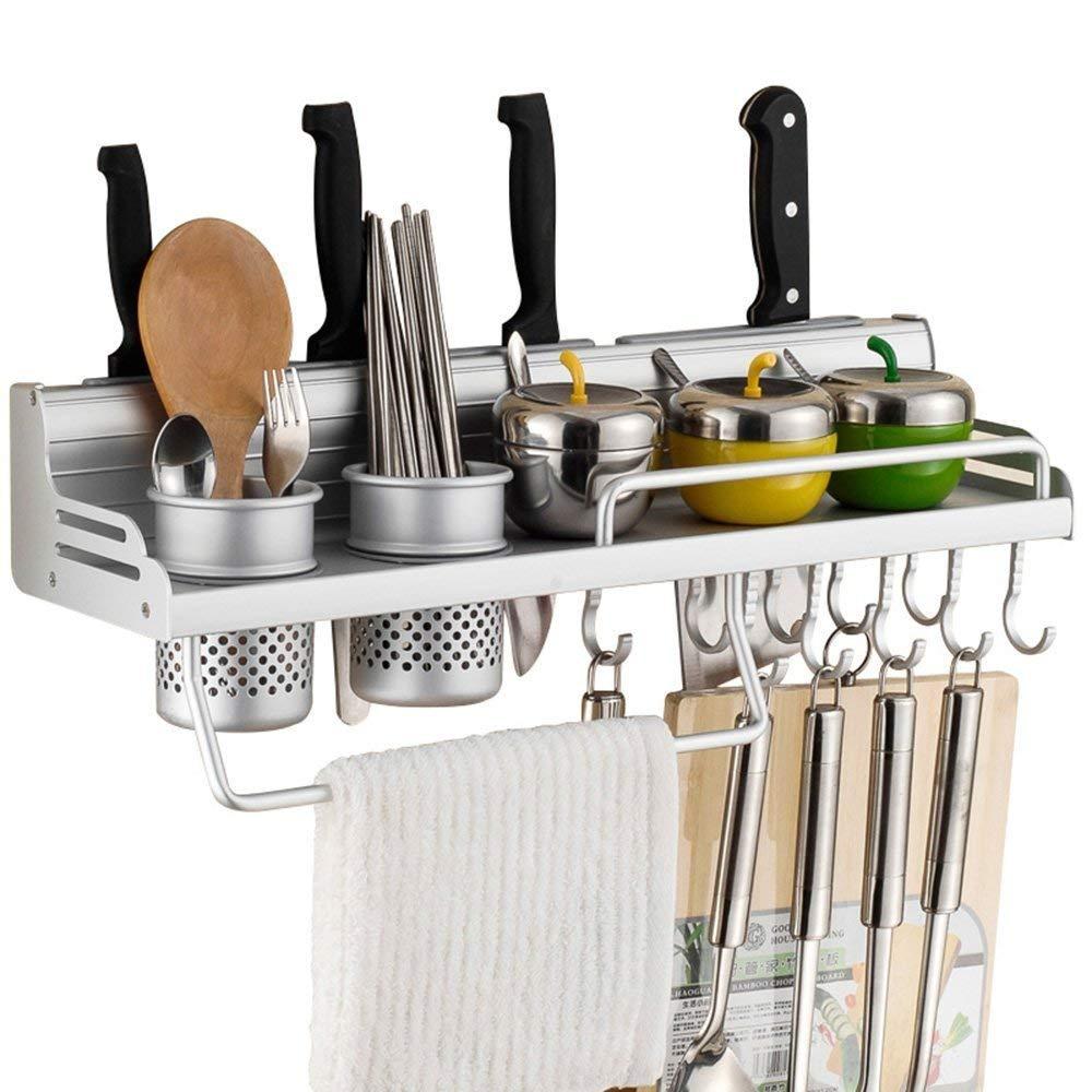 Estantería multifuncional para cocina, estantería de almacenamiento con botellero, cubertería de plata, bloques para cubiertos, estantería para colgar montada en la pared