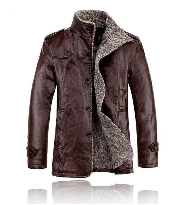 جاكيت جلد صناعي للرجال ، معطف دراجة نارية ، موضة جديدة ، مخمل ، جلد صناعي ، 2019