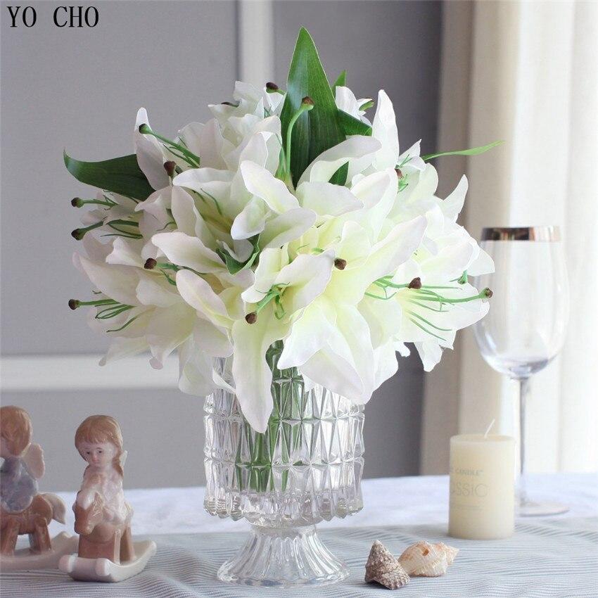 Flores de boda 14 cabezas/ramo de lirio Artificial Flor de seda artificial Artificial flores artificiales en macetas decorativas Multicolor