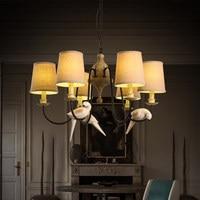 Creative Resin Bird Droplight Cloth Lamp Shade LED Pendant Light Fixtures Dining Room Retro Hanging Lamp Indoor Lighting