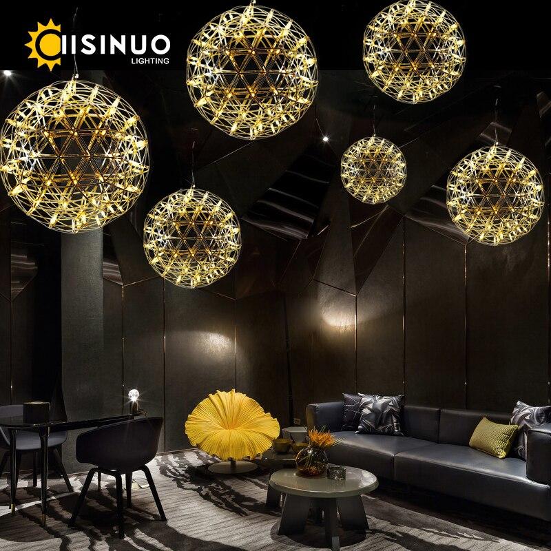 الحديثة الفاخرة داخلي LED مصباح الشرر الثريا الألعاب النارية G4 الفولاذ المقاوم للصدأ قلادة مصباح كروية ديكور الكروم والتيتانيوم