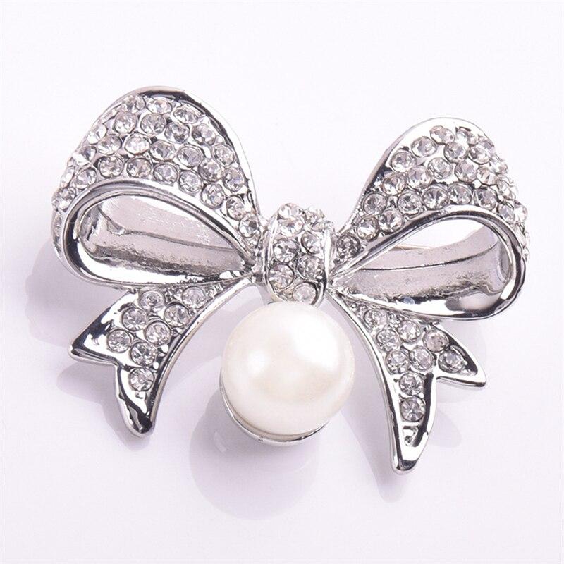 MAXSIN 1 pieza broche de aleación de ramillete con incrustaciones de perlas Lazo de cristal para mujer, insignias brillantes de moda, Pin decorativo para ropa