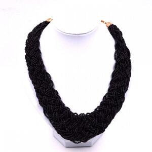 Fashion Women chain jewelry Fashion jewelry bohemia Woven Black Seed Bead Necklace for womens Fashion Women Jewelry Gift