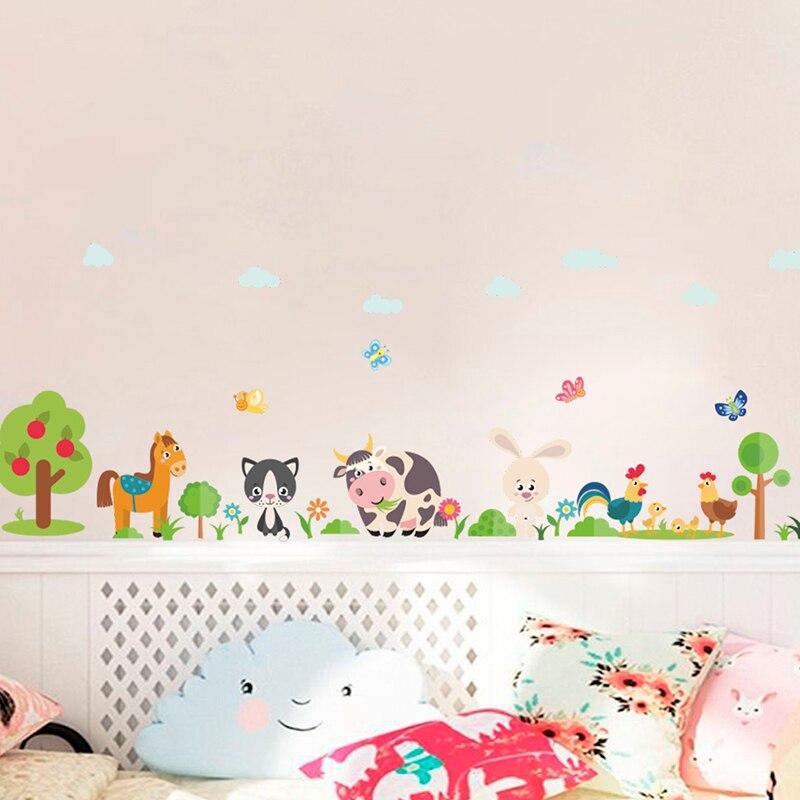 % Schöne Tiere Bauernhof Wand Aufkleber Für Home Dekoration Kinder Zimmer Schlafzimmer Kuh Pferd Schwein Huhn Wandbild Kunst DIY PVC wand Abziehbilder