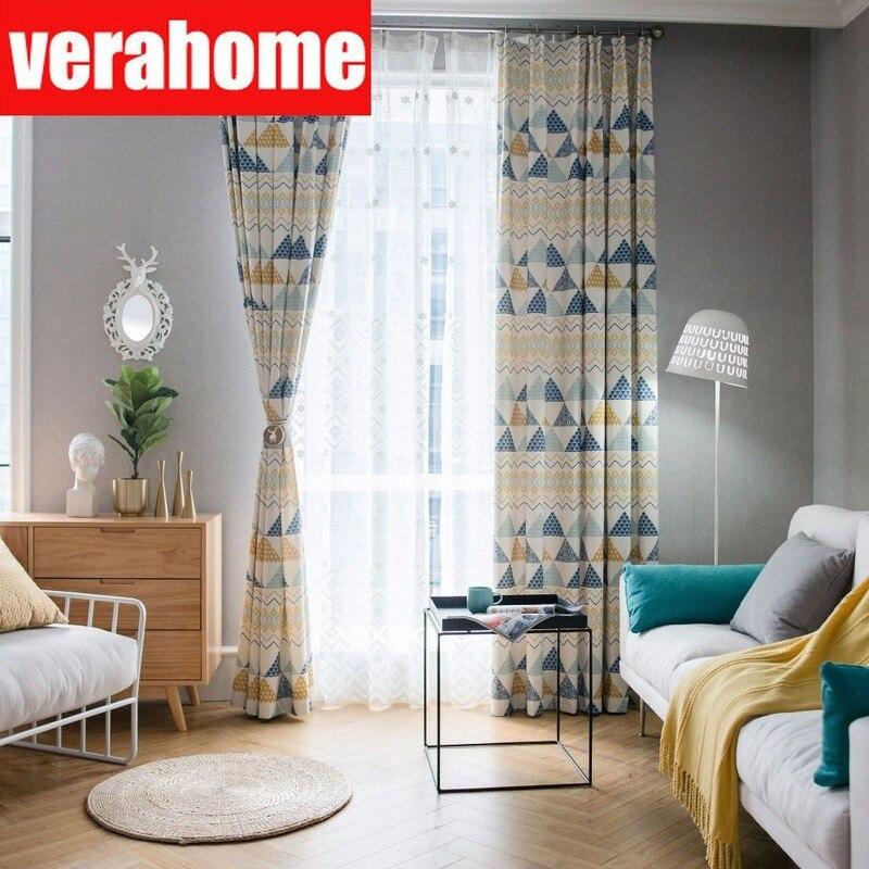 Cortinas con estampado geométrico de algodón y poliéster para ventanas, cortinas para sala de estar, dormitorio, cocina