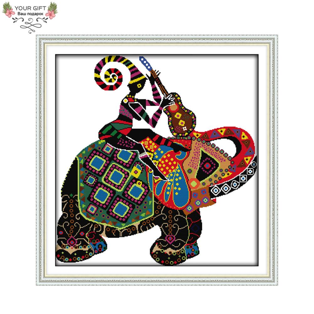 Joy Sunday decoración del hogar DA017 estampado y contado elefante nacional bordado de punto de cruz DIY Kits de punto de cruz