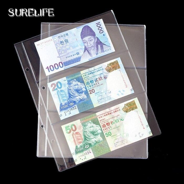 10 unids/lote 3 líneas/página dinero de billetes PVC transparente Página de papel dinero albúm de monedas hoja suelta inners de monedas/dinero