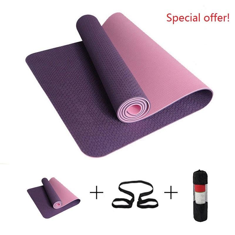Estera de Yoga antideslizante de 6mm, estera de gimnasia deportiva TPE de 183x61cm, Esterilla de Fitness, Esterilla, Pilates, gimnasia, Camping, colchoneta con bolsa de vendaje