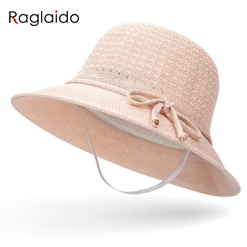 Sombreros de sol Raglaido para mujeres de moda de verano sombreros de fedora de punto hueco para niñas al aire libre de cuerda de viento sólido sombrero de playa
