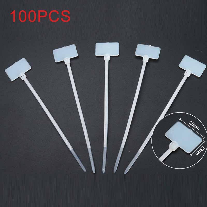 ELECALL 100 Uds. Bridas de nailon marca cinta de tirantes cinta de cable 3*100 etiqueta blanca marca escribir en