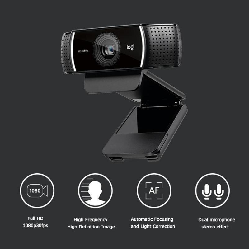 Cámara Web de autofoco Logitech C922 Pro, 1080P, 30fps, Full HD, con trípode HD 720P (60fps), vídeo en Streaming, cámara Web