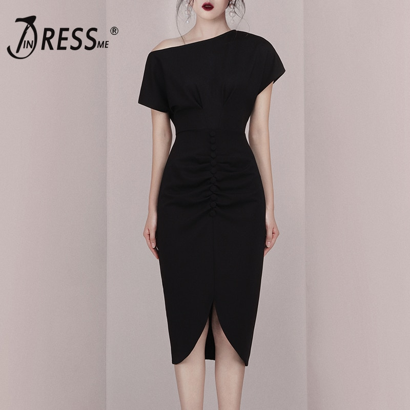 INDRESSME 2019 nueva moda mujeres Slash cuello mangas cortas Split asimétrico Hem elegante Oficina Lady vaina vestido negro
