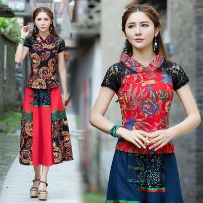 KYQIAO blusas mujer de moda 2020 traditional Chinese shirt women ethnic vintage v neck print patchwork blouse shirt