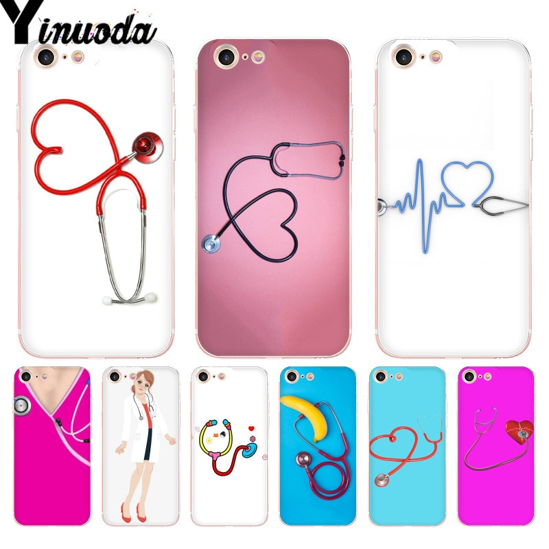 Yinuoda Estetoscópio enfermeira do hospital rosa Case Capa Do Telefone Para o iphone 8 7 6 6S Plus X 5 5S SE XR XS XSMAX11 11pro 11promax