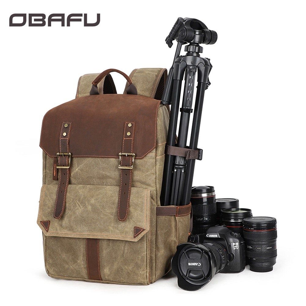 OBAFU デジタル一眼レフカメラバックパック写真ソフトバッグパックキャリーケースキヤノンニコンソニーペンタックス用防水三脚ホルダー