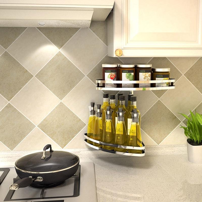 304 stainless steel kitchen shelf wall type rotary storage free punch corner seasoning seasoning rack LU5178