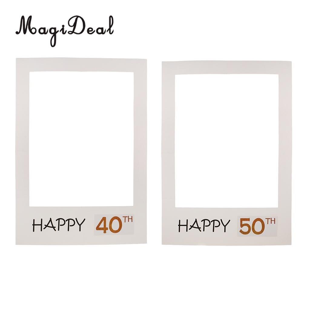 40/50th Glücklich Geburtstag Jahrestag Weiß Große Papier Selfie Rahmen Photo Booth Requisiten Party Zubehör 68x48 cm