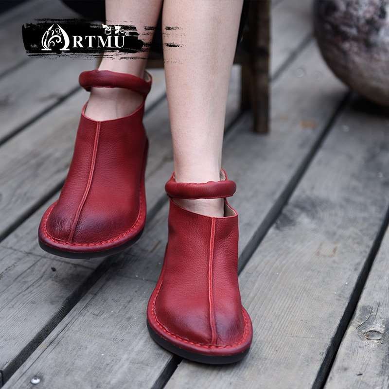 Artmu الأصلي النساء الأحذية اليدوية حقيقية أحذية من الجلد خمر امرأة فستان أحمر أحذية أحذية بوت قصيرة أحذية الزفاف هدية موضة