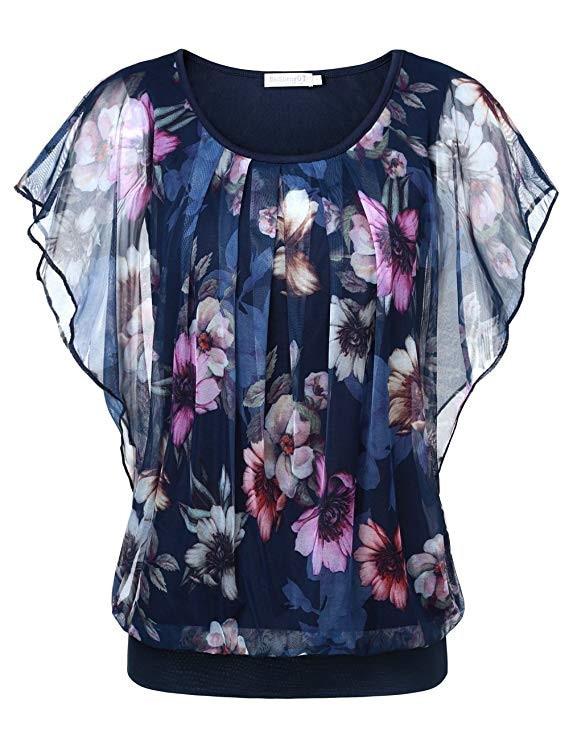 Wommen Blouse 2019 Summer Flare Sleeve shirt Double Layer Round Neck Blouse Ladies Sleeveless Shirt Print Top Roupa Feminina*
