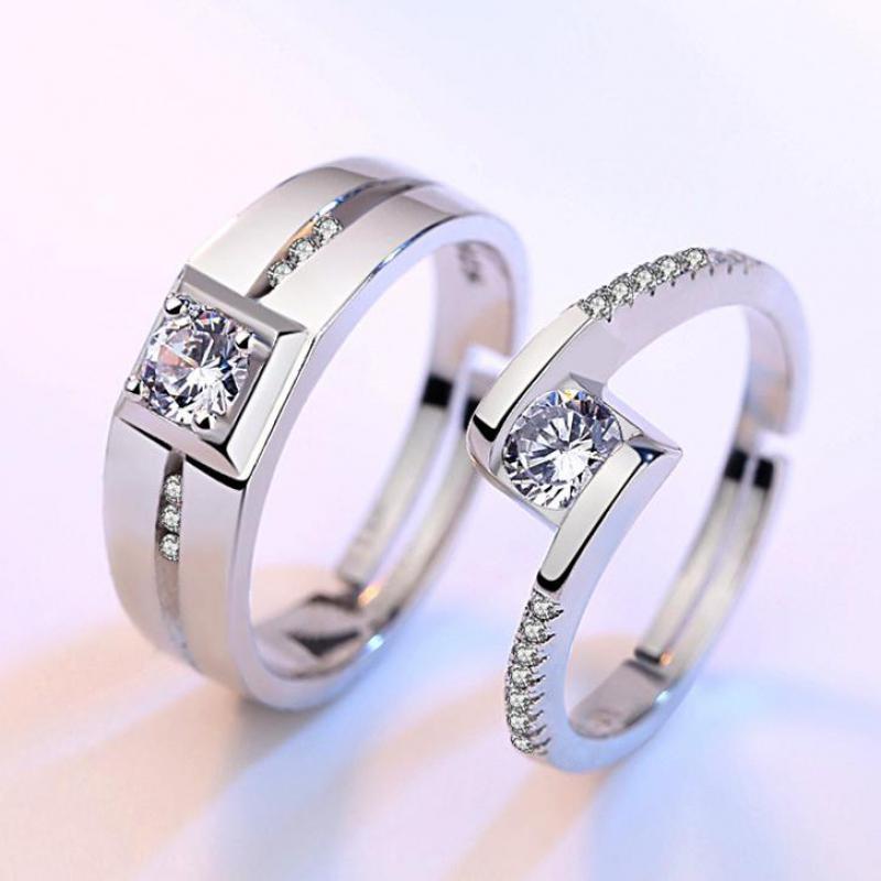 Кольцо с цирконием, обручальное кольцо, серебряное кольцо, кольца для женщин, мужское серебряное покрытие, ювелирные изделия для влюбленных пар, ювелирные изделия на День святого Валентина