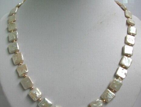 Huij 004902 10 mm blanco square perlas de agua dulce